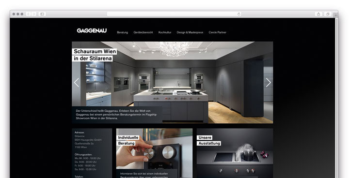 IT für AT - Eigene Website für den Gaggenau Showroom in Wien