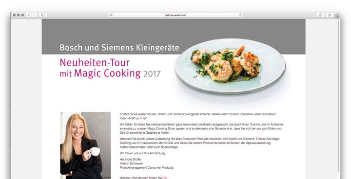 Landingpage für BSH Österreich - Neuheiten-Tour mit Magic Cooking